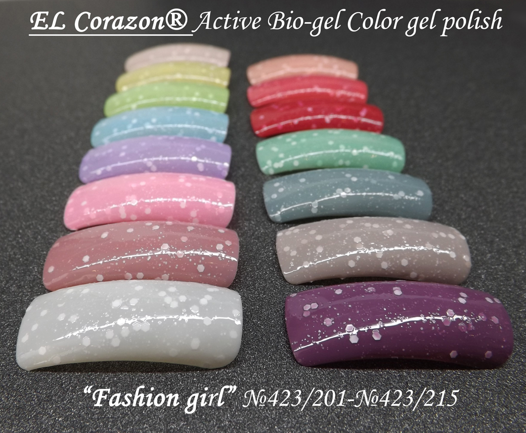 EL Corazon Active Bio-gel Color gel polish Fashion girl №423/201 - №423/215