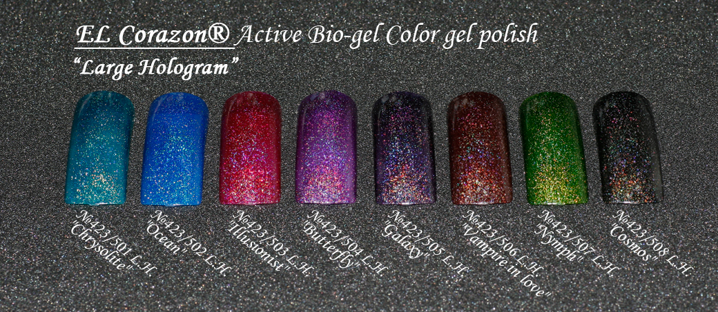 EL Corazon Active Bio-gel Color gel polish Large Hologram �423/501, �423/502, �423/503, �423/504, �423/505, �423/506, �423/507, �423/508