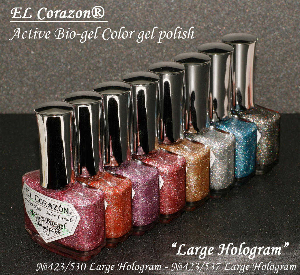 EL Corazon Active Bio-gel Color gel polish Large Hologram №423/501, №423/502, №423/503, №423/504, №423/505, №423/506, №423/507, №423/508