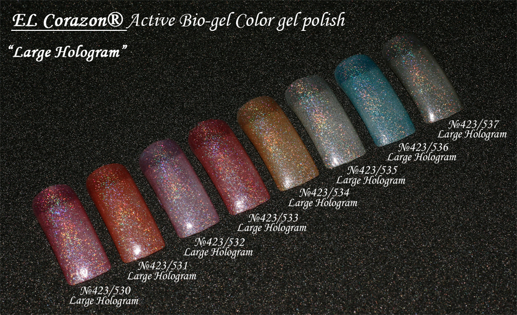 EL Corazon Active Bio-gel Color gel polish Large Hologram №423/530, №423/531, №423/532, №423/533, №423/534, №423/534, №423/536, №423/537