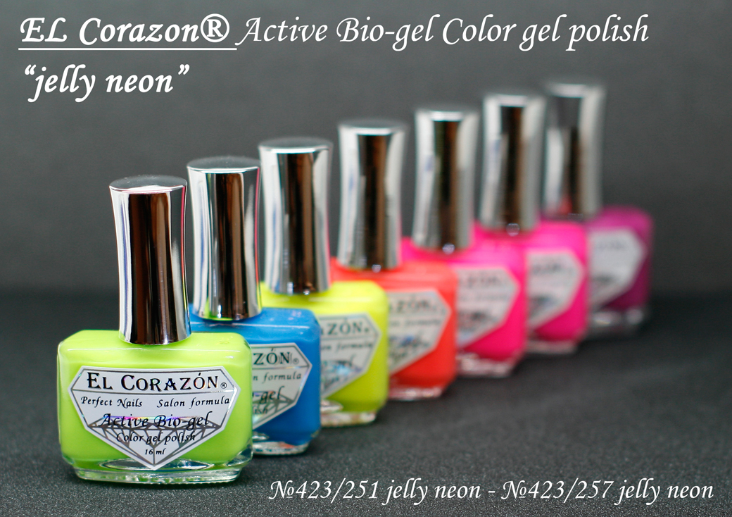 EL Corazon Active Bio-gel Color gel polish Jelly neon �423/251, �423/252, �423/253, �423/254, �423/255, �423/256, �423/257