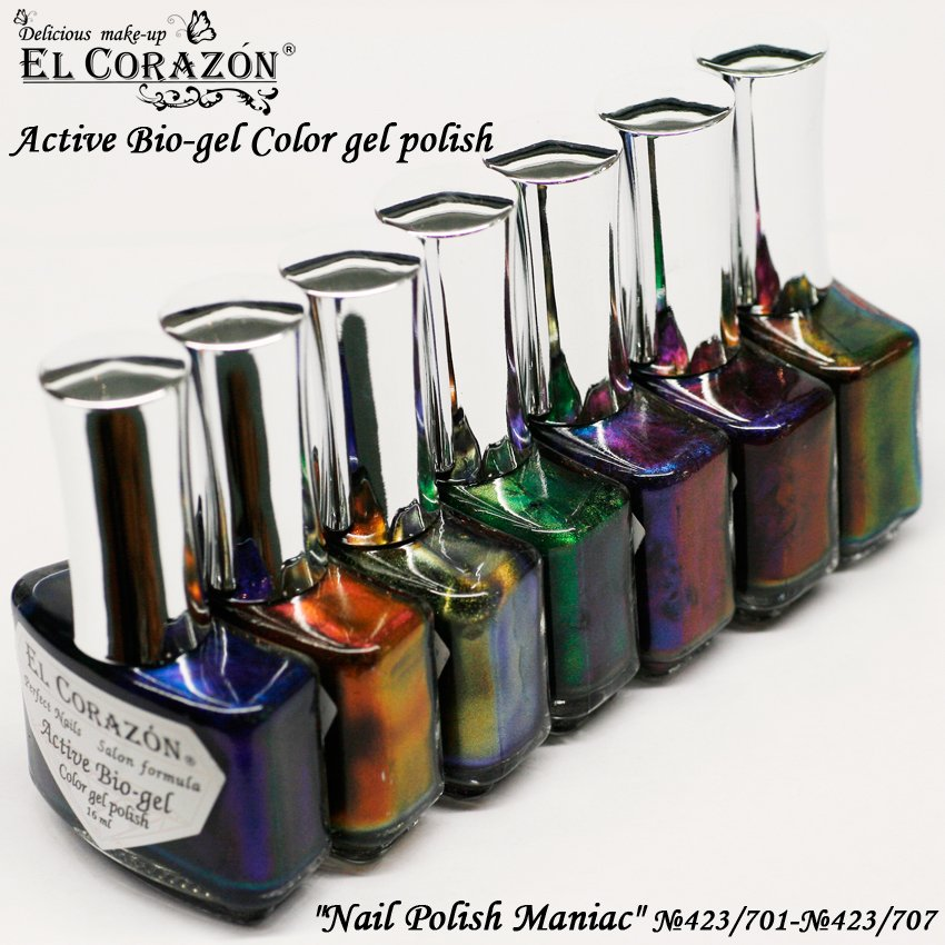 EL Corazon Active Bio-gel Color gel polish Nail Polish Maniac 423 701 702 703 704 705 706 707, биогель Эль Коразон, el corazon active bio-gel, el corazon 423, el corazon биогель палитра, Эль Коразон био гель