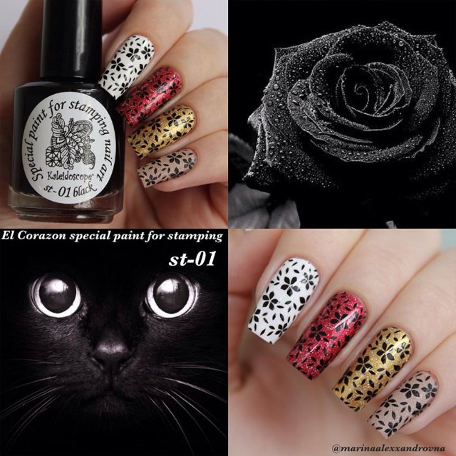 EL Corazon Kaleidoscope Special paint for stamping nail art №st-01 black