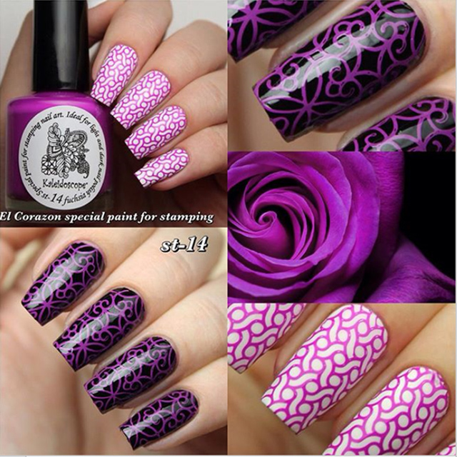 EL Corazon Kaleidoscope Special paint for stamping nail art №st-14 fuchsia