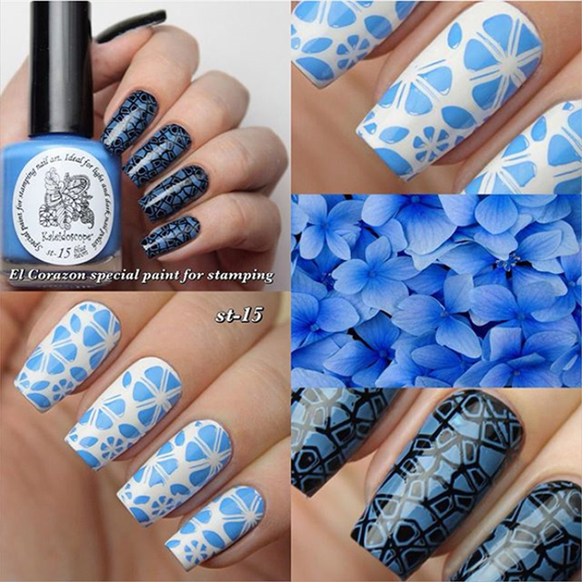 EL Corazon Kaleidoscope Special paint for stamping nail art №st-15 blue neon