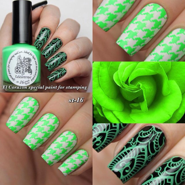 EL Corazon Kaleidoscope Special paint for stamping nail art st-16 green neon купить