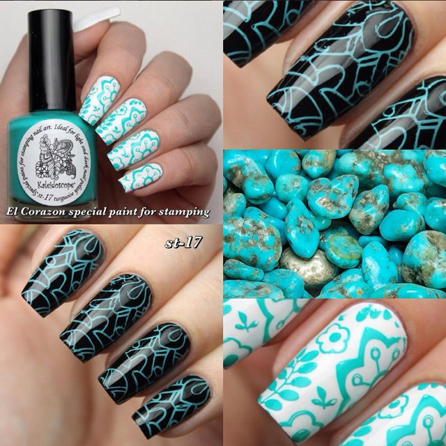 EL Corazon Kaleidoscope Special paint for stamping nail art st-17 turquoise