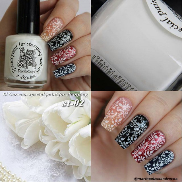 EL Corazon Kaleidoscope Special paint for stamping nail art №st-02 white