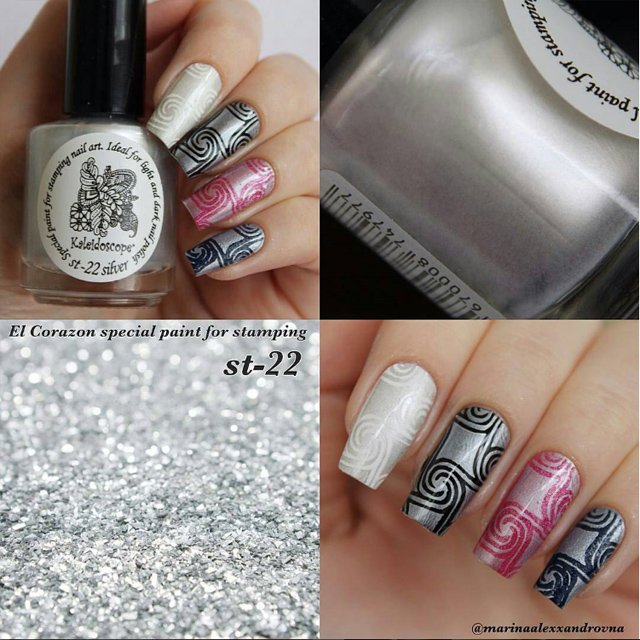 EL Corazon Kaleidoscope Special paint for stamping nail art №st-22 silver