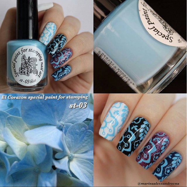EL Corazon Kaleidoscope Special paint for stamping nail art №st-03 blue