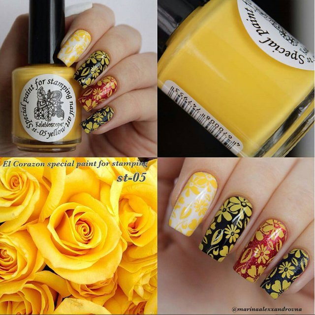 EL Corazon Kaleidoscope Special paint for stamping nail art №05 yellow