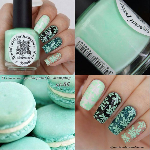 EL Corazon Kaleidoscope Special paint for stamping nail art №st-06 mint