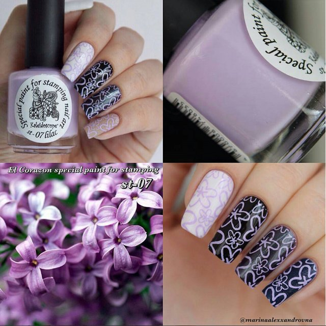 EL Corazon Kaleidoscope Special paint for stamping nail art №st-07 lilac