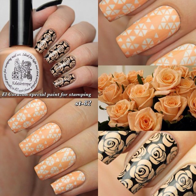 EL Corazon Kaleidoscope Special paint for stamping nail art st-82 apple flower