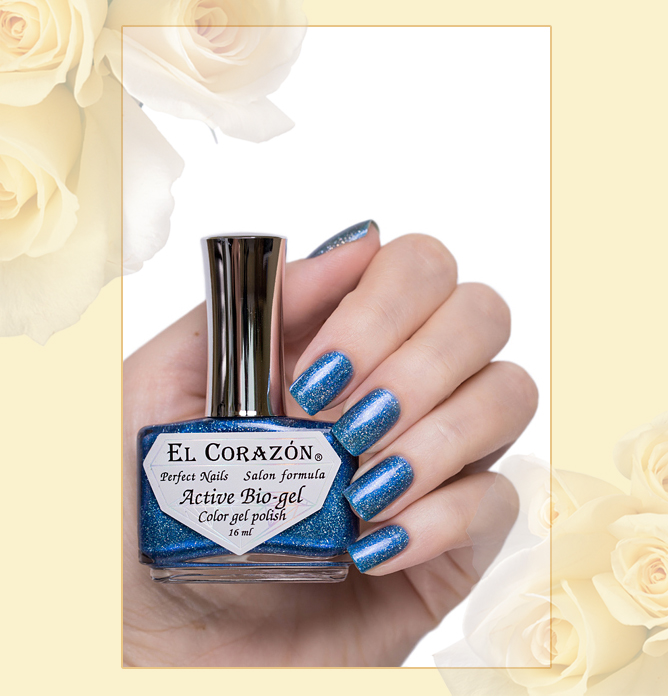423/465 Gemstones: Aquamarine Active Bio-gel Color gel polish EL Corazon Эль Коразон Самоцветы